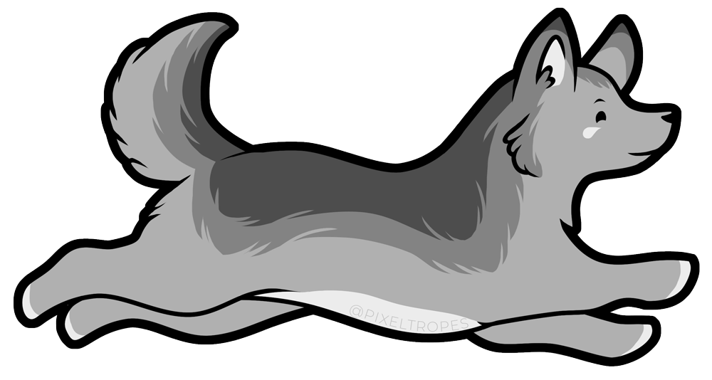 Digital illustration of a gray wolf by Pixeltropes