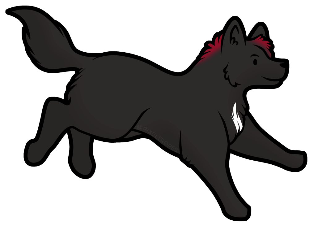 Digital illustration of a black wolf by Pixeltropes