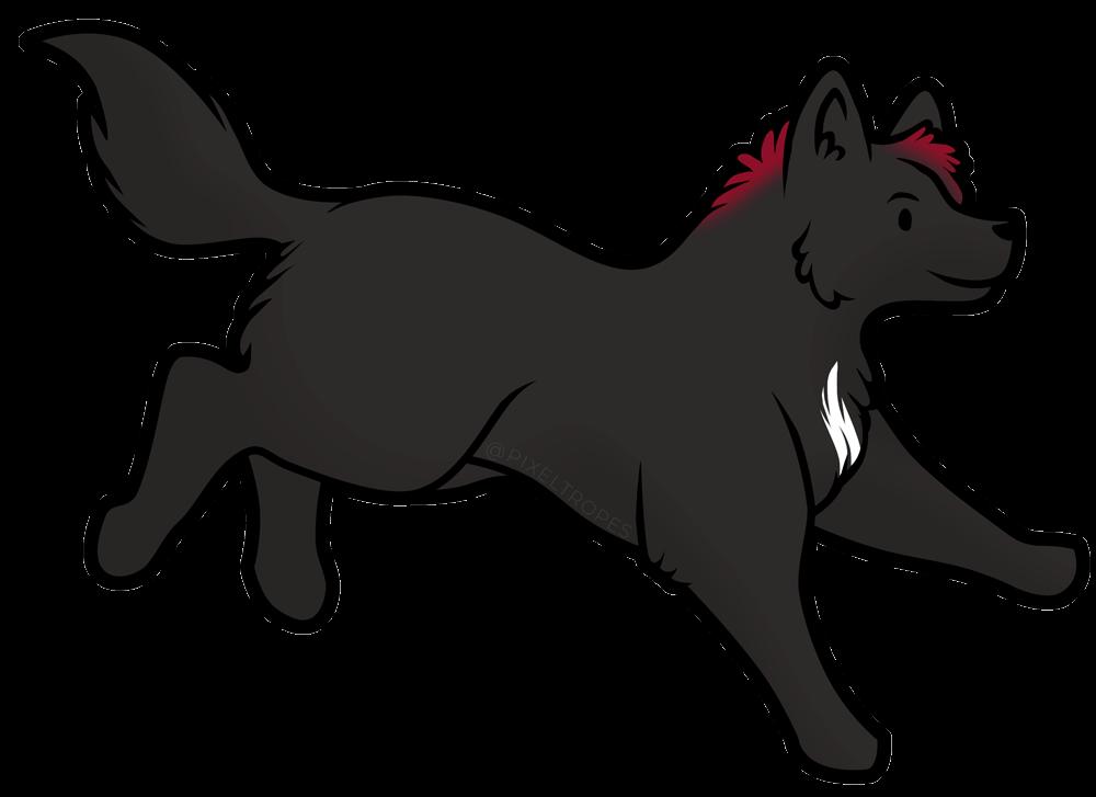 Digital illustration of a black wolf by Pixeltropes